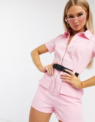 Parisian utility belted playsuit in pink