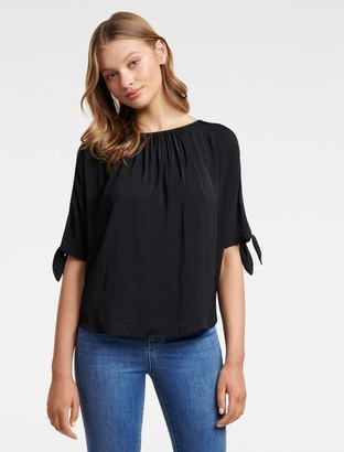 Forever New Simona Cold Shoulder Tie Sleeve Top - Navy - 4