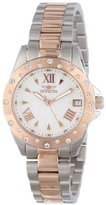 Invicta Women's 12856 Two Tone Swarovski Crystal Accented Mother of Pearl Dial Watch