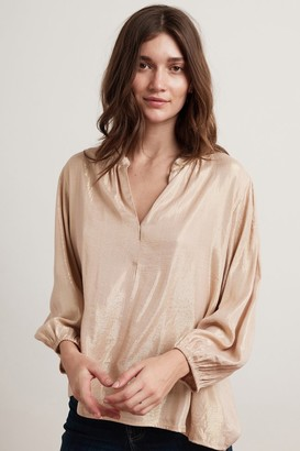 Velvet by Graham & Spencer Linette Lame 3/4 Sleeve Half-Placket Blouse