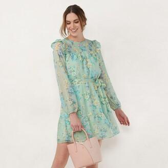 Lauren Conrad Women's Smocked Yoke Fit & Flare Dress