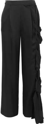 Loewe Braided Satin Wide-leg Pants - Black