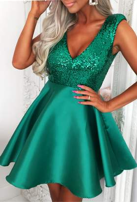 Pink Boutique Sexy But Sweet Green Sequin Top With Skater Satin Mini Dress