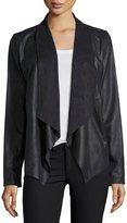 Bagatelle Faux-Suede Open-Front Jacket, Black
