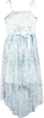 Zunie Floral Smocked Back Mesh Dress