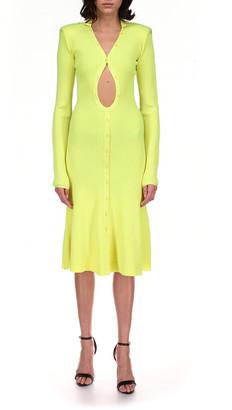 David Koma Cutout Flounce Hem Midi Dress