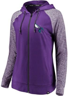 Möve Women's Fanatics Branded Purple/Heathered Purple Charlotte Hornets Made to Static Raglan Performance Full-Zip Hoodie