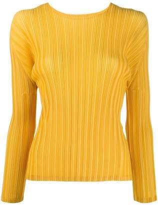Pleats Please Issey Miyake long-sleeved pleated top