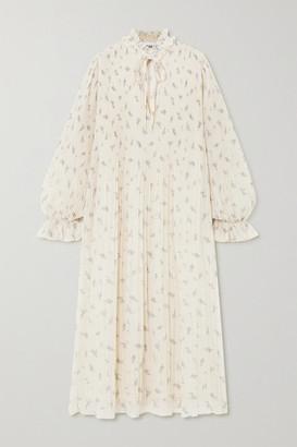 Ganni Ruffled Floral-print Plisse-georgette Midi Dress - Ivory
