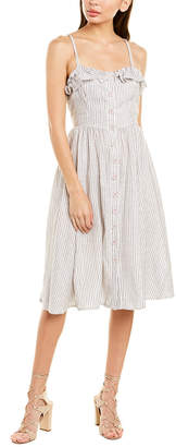 French Connection Laiche Striped Ruffle Midi Dress