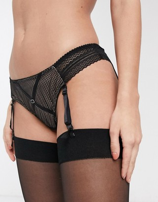 Curvy Kate Starstruck lace and net suspender brazilian brief in black