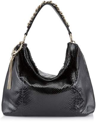 Jimmy Choo CALLIE/L Black Shiny Python Slouchy Shoulder Bag with Gold Chain Strap