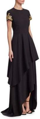David Meister Embellished High-Low Gown