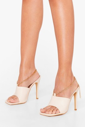 Nasty Gal Womens Total Croc Out Asymmetric Heeled Mules - Beige - 3