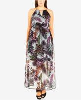 City Chic Plus Size Leaf-Print Hardware Maxi Dress