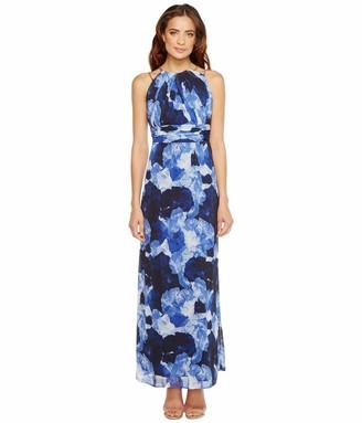 Sangria Women's Floral Chiffon Gown