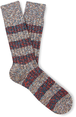 Pantherella Eden Striped Ribbed Melange Cotton-Blend Socks