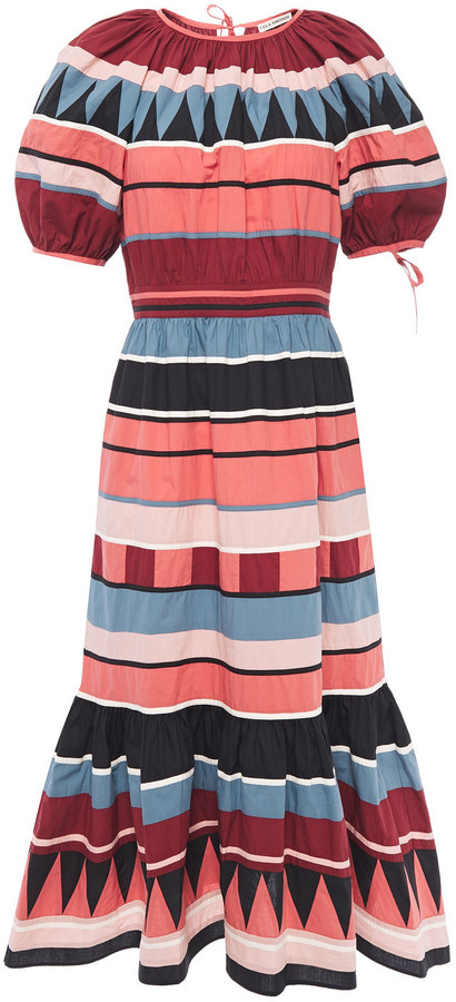 Ulla Johnson Ayta Fluted Striped Cotton-poplin Midi Dress