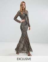 Club L Fishtail Maxi Dress with Gold Sequin Placement