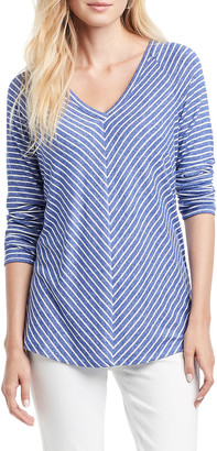 Nic+Zoe Angled Relaxed Stripes Top