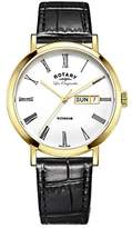 Rotary Windsor Men's Quartz Watch with White Dial Analogue Display and Black Leather Strap GS90156/01