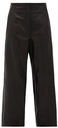 Raey Elasticated-back Leather Trousers - Black