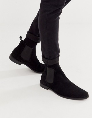 Asos DESIGN chelsea boots in black suede with black sole