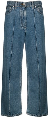 Pringle wide-leg cropped pintuck jeans