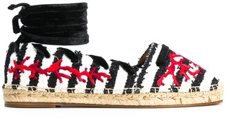 Aquazzura Striped Contrast Embroidered Espadrilles