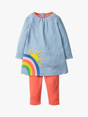 Boden Mini Baby Applique Rainbow Dress and Leggings Set, Blue/Peach