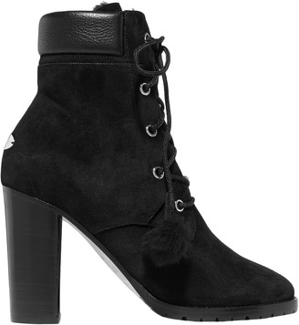 Jimmy Choo Elba 95 Shearling-lined Suede Ankle Boots