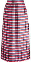 Gucci Pleated Striped Silk-blend Lamé Midi Skirt - Blue