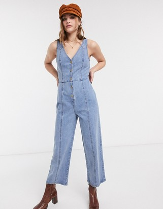 Emory Park button front jumpsuit in washed denim