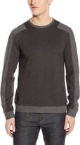 Calvin Klein Men's Long Sleeved Color Blocked Crew Neck Knit, Medium Grey
