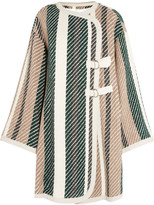See by Chloe Leather-trimmed Striped Jacquard-knit Coat - Green