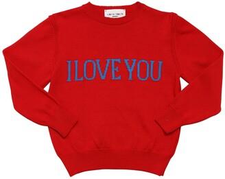 Alberta Ferretti I Love You Intarsia Cotton Knit Sweater