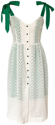 Anna Etter White Summer Cotton Dress With Green Straps & Buttons