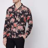 River Island Mens Black floral revere long sleeve shirt
