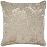 Aura Floral Bird Velvet Applique 20-Inch Square Throw Pillow