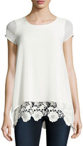 Design History Chiffon Overlay Tee with Lace Hem, Natural