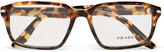 Prada Havana Square-Frame Tortoiseshell Acetate Optical Glasses