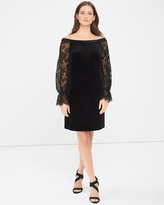 White House Black Market Off-the-Shoulder Lace Sleeve Black Velvet Shift Dress