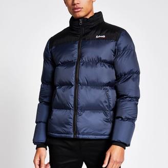 Schott Mens River Island Blue colour block padded jacket
