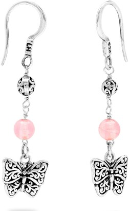 Lois Hill Sterling Silver & Rose Quartz Beaded Butterfly Drop Earrings