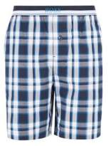 Boss Pyjama shorts in cotton poplin with check