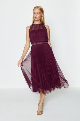 Coast Mesh Pleated Midi Dress