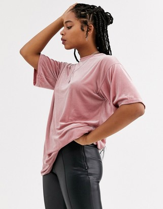 Topshop tunic top in pink velvet
