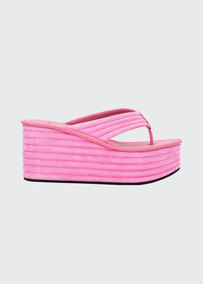 Fendi 85mm Suede Platform Wedge Thong Sandals