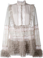 Amen sheer ruffled blouse - women - Silk/Polyamide - 42