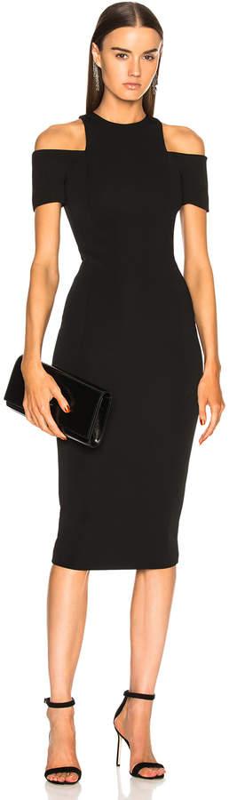 Victoria Beckham Cap Sleeve Cutout Fitted Midi Dress in Black   FWRD
